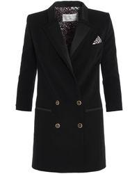 Elisabetta Franchi Double Breasted Blazer Mini Dress - Black