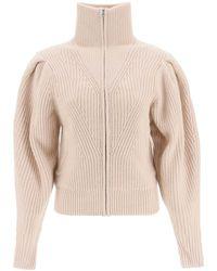 Isabel Marant Zip-up Knitted Cardigan - Natural
