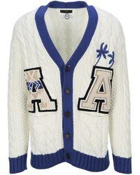 Alanui Varsity Cable Knit Cardigan - White