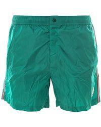 Moncler Striped Logo Patch Side Stripe Swim Shorts - Green
