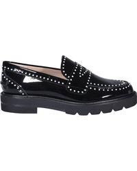 Stuart Weitzman Parker Pearl-embellished Loafers - Black