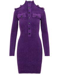 Bottega Veneta Viscose Knitted Dress - Purple