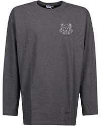 KENZO Motif Printed Crewneck T-shirt - Grey