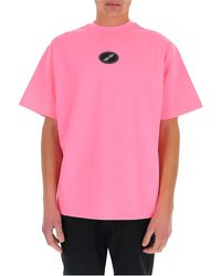 we11done Logo Patch Oversize T-shirt - Pink