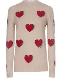 Prada Heart Jacquard Sweater - Pink