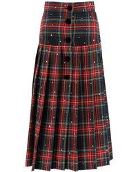 Miu Miu Pleated Tartan Print Midi Skirt - Multicolour