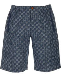 Gucci GG Jacquard Denim Shorts - Blue