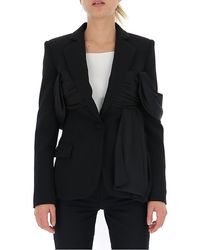 Moschino Draped Detail Tailored Blazer - Black