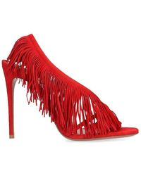 Aquazzura Wild Fringe 105mm Sandals - Red
