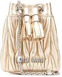 Miu Miu Matelassé Mini Shoulder Bag - Metallic