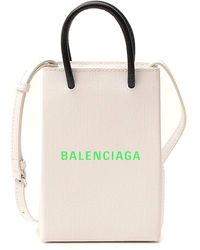 Balenciaga Shopping Phone Holder In Textured Calfskin - White