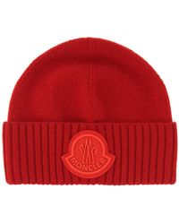 Moncler Large Logo Beanie Red