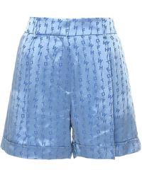 Off-White c/o Virgil Abloh All Over Logo Shorts - Blue