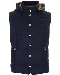 Brunello Cucinelli Hooded Down Padded Gilet - Blue