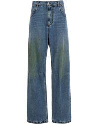 MSGM Distressed Wide Leg Jeans - Blue