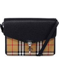 12239eed9f70 Lyst - Burberry Alchester Small Calf-Leather Cross-Body Bag in Black
