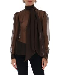 Saint Laurent Sheer Pussy-bow Shirt - Brown