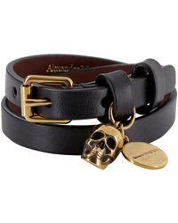 Alexander McQueen Skull Pendant Wrap Bracelet - Black