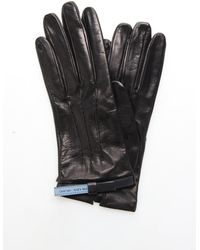 Prada Logo Detail Gloves - Black