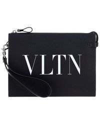 Valentino Vltn Printed Toiletry Bag - Black