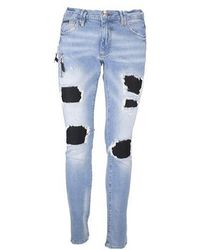 Philipp Plein Distressed Biker Skinny Jeans - Blue