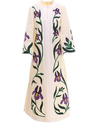 Tory Burch Iris Embroidered Linen Caftan - White