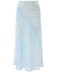 RIXO London Kelly Printed Bias-cut Silk Midi Skirt - Blue
