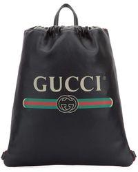 Gucci Logo Drawstring Leather Backpack - Black