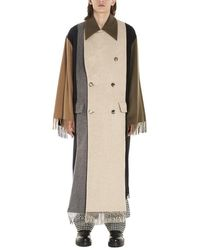 Loewe Asymmetric Fringed Scarf Coat - Natural