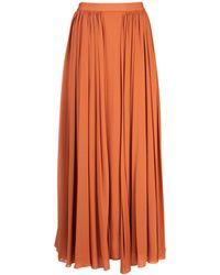 Max Mara Pleated Maxi Skirt - Orange