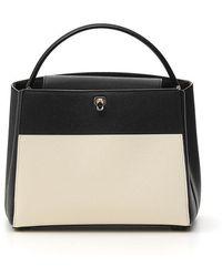 Valextra Contrast Color Block Tote Bag - Black