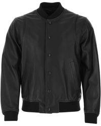 DSquared² Black Leather Bomber Jacket