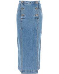 Nanushka Elke Midi Denim Skirt Xs Cotton,denim - Blue