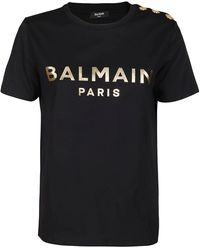 Balmain Button Detail Logo Printed T-shirt - Black