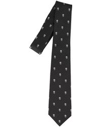 Alexander McQueen Skull And Polka Dot Tie - Black