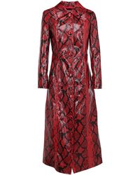 Stand Studio Buttoned Long-line Coat - Red