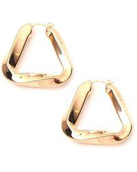 Bottega Veneta Twisted Triangle Hoop Earrings - Metallic