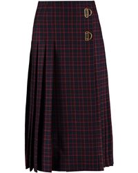 Burberry D Ring Checked Pleated Skirt - Black