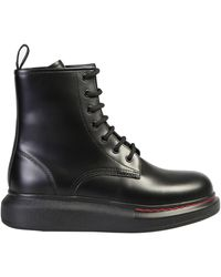 Alexander McQueen Hybrid Leather Ankle Boots - Black