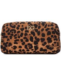 Dolce & Gabbana Leopard Cosmetic Bag - Brown