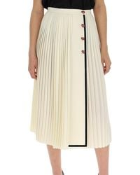 Gucci Pleated Contrast Trim Skirt - Natural