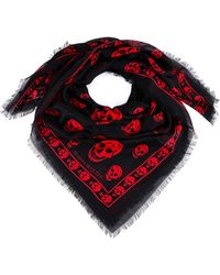 Alexander McQueen All-over Skull Logo Scarf - Red
