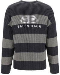 Balenciaga Striped Jumper - Grey