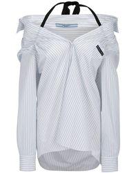 Prada Strap Detail Striped Shirt - White
