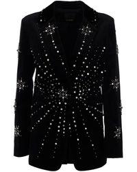 Pinko Embroidered Velvet Blazer - Black