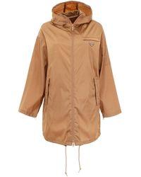 Prada Logo Hooded Raincoat - Brown