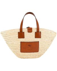 Etro Woven Top Handle Tote Bag - Natural