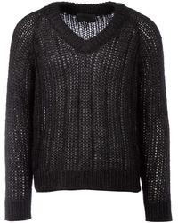 Prada Knitted V-neck Sweater - Black