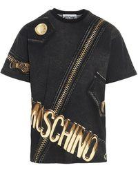 Moschino Biker Print T-shirt - Black