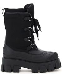 Prada Monolith Shell Lace-up Boots 36 Leather,technical - Black